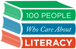 Stack of books titled 100 People Who Care About Reading